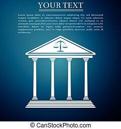 konzervativní, byt, soud, osamocený, ilustrace, grafické pozadí., vektor, ikona, design.