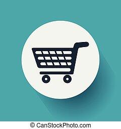 konzervativní, byt, vektor, shopping vozík, grafické pozadí., design, ilustrace, eps10, ikona