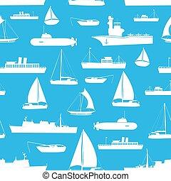 konzervativní, doprava, Ikona, model, loďi,  seamless, rozmanitý, loďstvo,  eps10