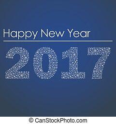 konzervativní, happy new year, 2017, od, maličký, sněhové vločky, eps10