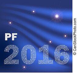 konzervativní, lesklý, abstraktní, happy new year, pf, 2016, od, maličký, sněhové vločky, eps10
