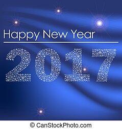 konzervativní, lesklý, happy new year, 2017, od, maličký, sněhové vločky, eps10