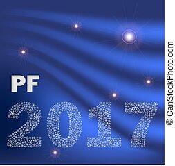 konzervativní, lesklý, oblý, happy new year, pf, 2017, od, maličký, sněhové vločky, eps10