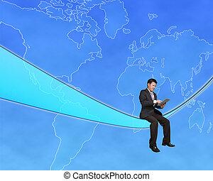 konzervativní, mapa, tabulka, kabel, sedění, souhrnný, nebe, tech, grafické pozadí, dotyk, obchodník