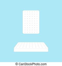 konzervativní, matrace, grafické pozadí, ikona