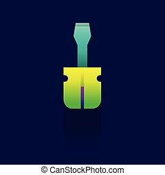 konzervativní, screwdriver., vektor, design, grafické pozadí, ikona