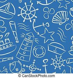 konzervativní, skica,  eps10, Ikona, lehký, lodní,  seamless, vektor, klikyháky, model