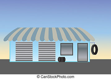 konzervativní, storefront, pneumatika, sklad