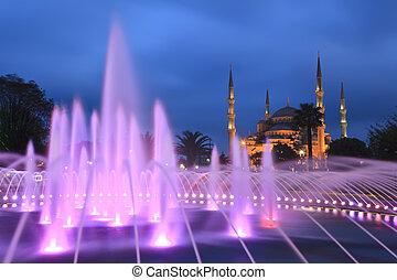 konzervativní, turecko, istanbul, mešita, -