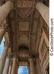 konzervativní, vchod, pantheon, nebe, móda, paris., neoclassical, perspektivní, sloupec