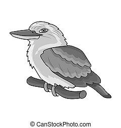 Kookaburra sitting on branch icon in monochrome style isolated on white background. Australia symbol stock bitmap,raster illustration.