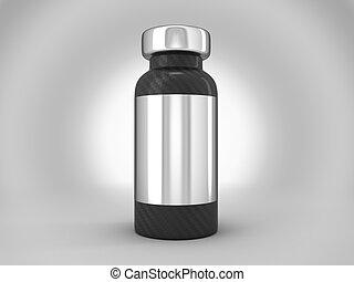 koolstof, vezel, ampul, met, zilver, sticker