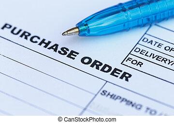 kooporder, met, blauwe pen, in, de, office?