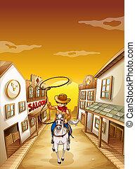 koord, jongen, paarde, jonge, paardrijden