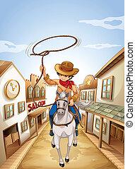 koord, jongen, paarde, vasthouden, paardrijden