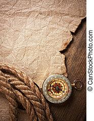 koord, kompas, papier, oud