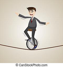koord, paardrijden, unicycle, spotprent, zakenman