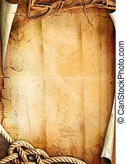 koord, papier, oud, textuur