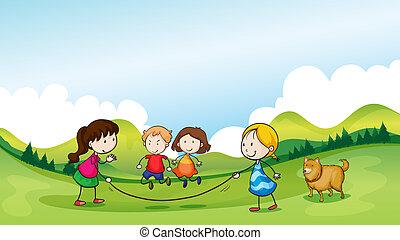 koord, springt, kinderen spelende