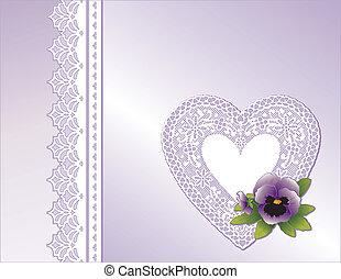 koordvormig hart, lavendel, satijn, viooltje