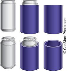 koozie, lata, aluminio