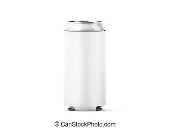 koozie, plegable, arriba, aislado, cervezaenlatada, blanco,...