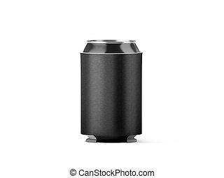 koozie, plegable, mockup, aislado, cerveza, negro, lata,...