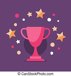kop, bovenzijde, winnaar, resultaat, toewijzen, hoog, spel, partituur, plek, best, opvoering, programma, wedstrijdbeker, belonen, glanzend, ceremonie, prestatie, eerst