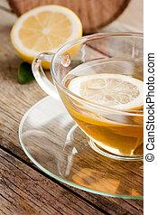 kop, i, organisk, citron, frugt, te