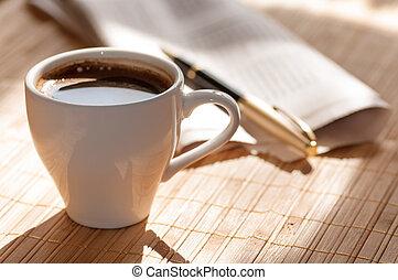 kop, kaffe, imod, pen, sort, avis
