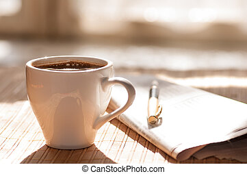kop, kaffe, pen, imod, formiddag, vindue, sort, avis