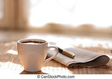 kop, kaffe, pen, imod, vindue, sort, t, avis