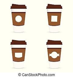 kop, koffie, papier, etiket