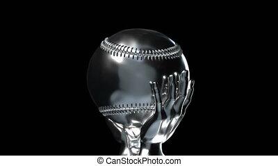 kop, loop-able, honkbal, alfa, zilver, vaart