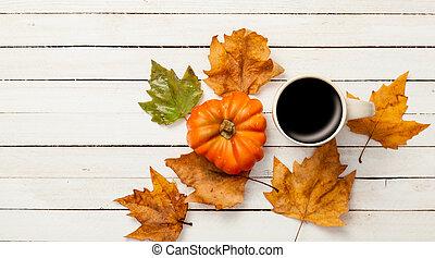 kop, og, pumpkin, hos, det leafs