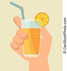 kop, sappig, hand, glas, sinaasappel, houden