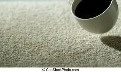 kop van koffie, het vallen, en, verspillen