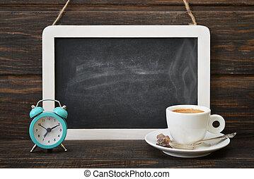 kop van koffie, met, bord