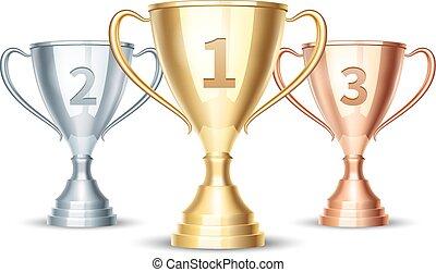 kop, winnaar, goud, vector, zilver, brons