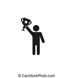 kop, winnaar, man, vector, mensen, figuur, houden, stok, pictogram., pictogram