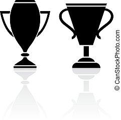 kop, winnaar, toewijzen, pictogram