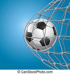 kopaná, goal., fotbal koule, do, jeden, net.