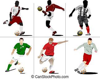 kopaná, players., barevný, vektor, ilustrace, jako,...