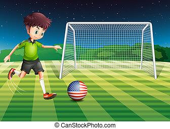 kopanie, bandera, piłka, usa, gracz