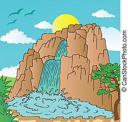 kopec, s, vodopády, krajina