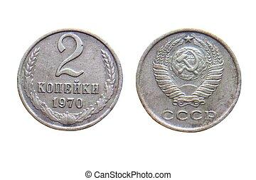 kopeks, viejo, unión, coins, 1970, (communist, 2, soviético...