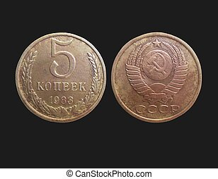 kopeks, viejo, unión, coins, (communist, 5, soviético, ...