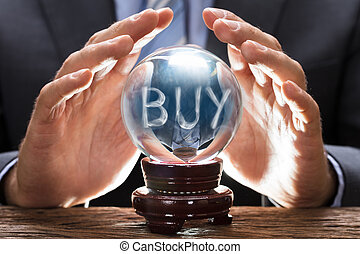 kopen, bedekking, vormen, kristale bal, rook, tekst, zakenman