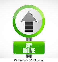 kopen, illustratie, meldingsbord, ontwerp, online, straat