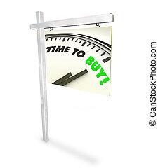 kopen, klok, -, verkoop teken, tijd, thuis
